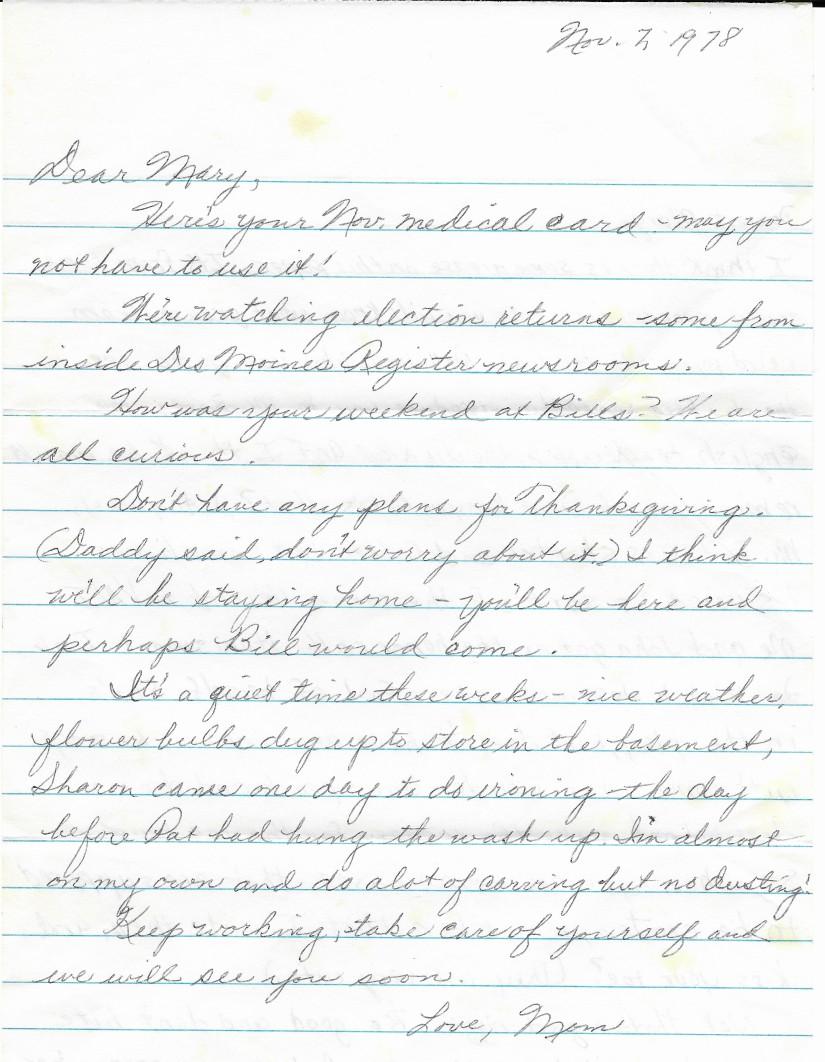 Nov 7 1978 letter